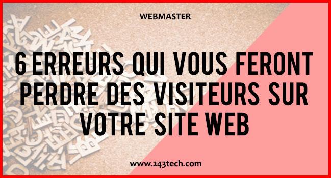 6 erreurs qui vous feront perdre des visiteurs sur votre site web