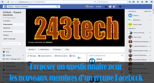 Proposer un questionnaire pour les nouveaux membres d'un groupe Facebook