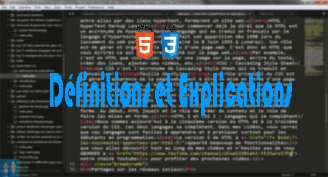[HTML/CSS] - 2. Définitions et explications